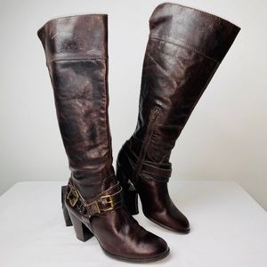 Arturo Chiang Tall Brown Leather Harness Boots 8.5